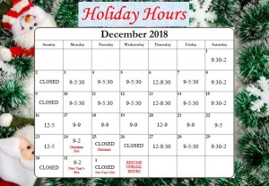 HOliday 2018 Hours